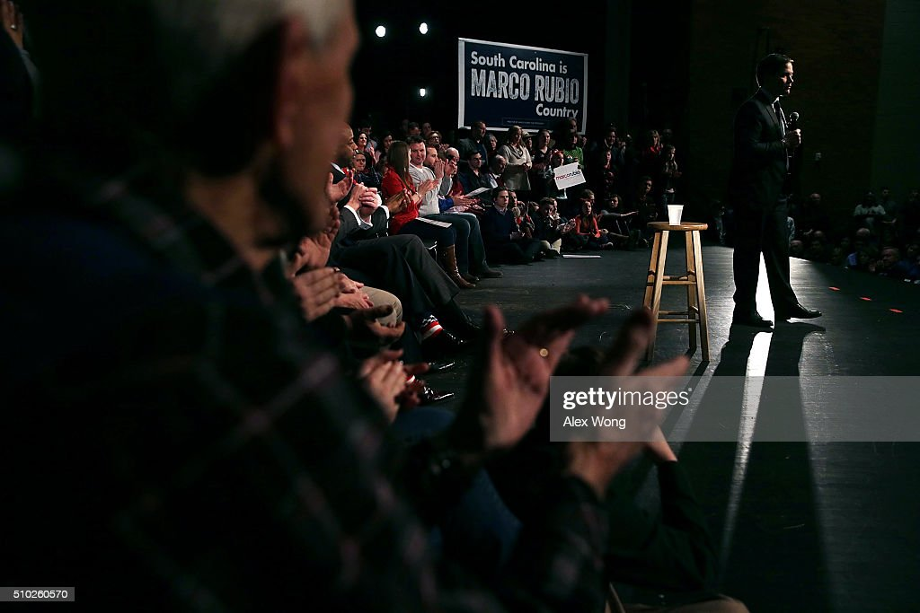 Republican presidential candidate Sen. Marco Rubio (R-FL) speaks to voters during a campaign rally February 14, 2016 in Easley, South Carolina. Rubio continued to campaign in the Palmetto State for the upcoming GOP primary.