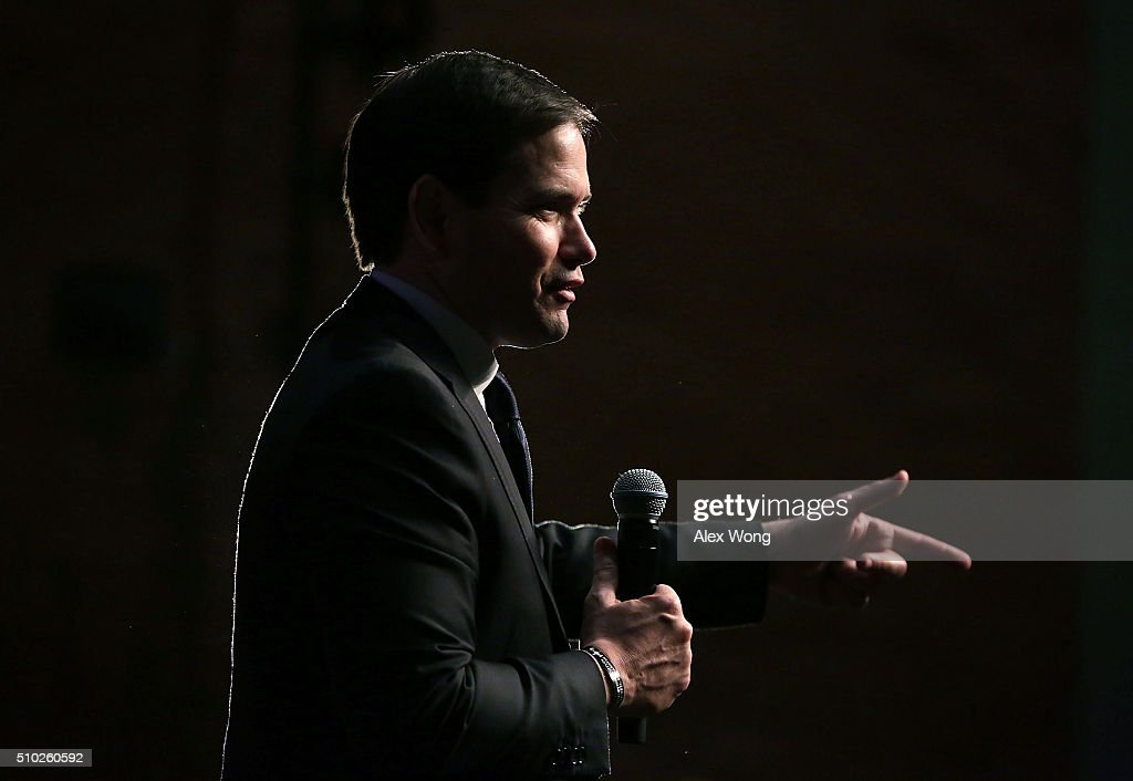 Republican presidential candidate Sen. <a gi-track='captionPersonalityLinkClicked' href=/galleries/search?phrase=Marco+Rubio+-+Politicus&family=editorial&specificpeople=11395287 ng-click='$event.stopPropagation()'>Marco Rubio</a> (R-FL) speaks to voters during a campaign rally February 14, 2016 in Easley, South Carolina. Rubio continued to campaign in the Palmetto State for the upcoming GOP primary.