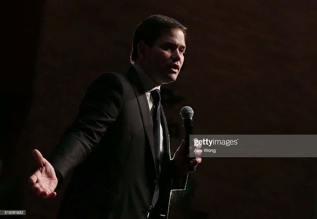 Republican presidential candidate Sen. <a gi-track='captionPersonalityLinkClicked' href=/galleries/search?phrase=Marco+Rubio+-+Pol%C3%ADtico&family=editorial&specificpeople=11395287 ng-click='$event.stopPropagation()'>Marco Rubio</a> (R-FL) speaks to voters during a campaign rally February 14, 2016 in Easley, South Carolina. Rubio continued to campaign in the Palmetto State for the upcoming GOP primary.