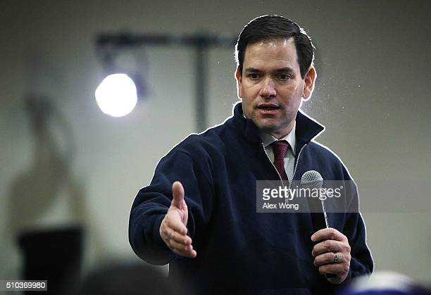 Republican presidential candidate Sen Marco Rubio speaks to voters during a campaign event February 15 2016 in Rock Hill South Carolina Rubio...