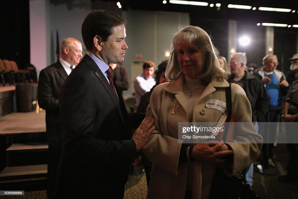 Republican presidential candidate Sen. <a gi-track='captionPersonalityLinkClicked' href=/galleries/search?phrase=Marco+Rubio+-+Politician&family=editorial&specificpeople=11395287 ng-click='$event.stopPropagation()'>Marco Rubio</a> (R-FL) speaks with people at the conclusion of a campaign town hall meeting at the Sun City Hilton Head's Magnolia Hall February 11, 2016 in Okatie, South Carolina. Earlier in the week Rubio placed fifth in the New Hampshire primary, behind fellow GOP candidates Jeb Bush, John Kasich, Sen. Ted Cruz (R-TX) and Donald Trump, who won with 35 percent of the vote.