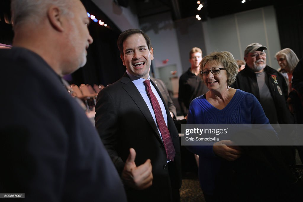 Republican presidential candidate Sen. <a gi-track='captionPersonalityLinkClicked' href=/galleries/search?phrase=Marco+Rubio+-+Politician&family=editorial&specificpeople=11395287 ng-click='$event.stopPropagation()'>Marco Rubio</a> (R-FL) talks with people at the conclusion a campaign town hall meeting at the Sun City Hilton Head's Magnolia Hall February 11, 2016 in Okatie, South Carolina. Earlier in the week Rubio placed fifth in the New Hampshire primary, behind fellow GOP candidates Jeb Bush, John Kasich, Sen. Ted Cruz (R-TX) and Donald Trump, who won with 35 percent of the vote.