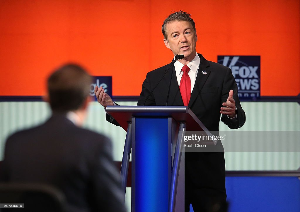 Republican presidential candidate Sen. <a gi-track='captionPersonalityLinkClicked' href=/galleries/search?phrase=Rand+Paul&family=editorial&specificpeople=6939188 ng-click='$event.stopPropagation()'>Rand Paul</a> (R-KY) participates in the Fox News - Google GOP Debate January 28, 2016 at the Iowa Events Center in Des Moines, Iowa. Residents of Iowa will vote for the Republican nominee at the caucuses on February 1. Donald Trump, who is leading most polls in the state, decided not to participate in the debate.
