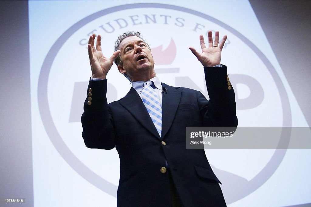 Republican presidential candidate Sen. Rand Paul (R-KY) speaks during a 'Students For Rand Rally' at George Washington University November 19, 2015 in Washington, DC. Sen. Paul continued to campaign for the Republican nomination for U.S. president.