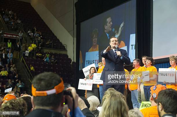 Republican presidential candidate Sen Ted Cruz addresses the Republican Convention at The Broadmoor World Arena in Colorado Springs Colorado on...