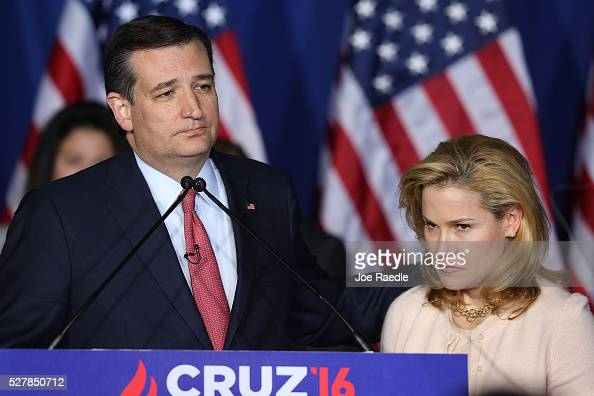 Republican presidential candidate Sen Ted Cruz announces the suspension of his campaign as wife Heidi Cruz looks on during an election night watch...