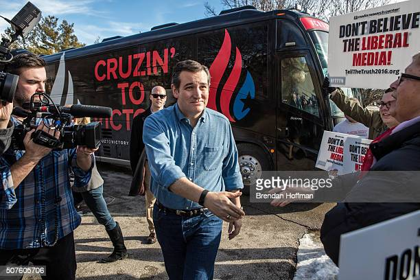 Republican presidential candidate Sen Ted Cruz arrives at a campaign event at the Gateway Hotel on January 30 2016 in Ames Iowa The Democratic and...
