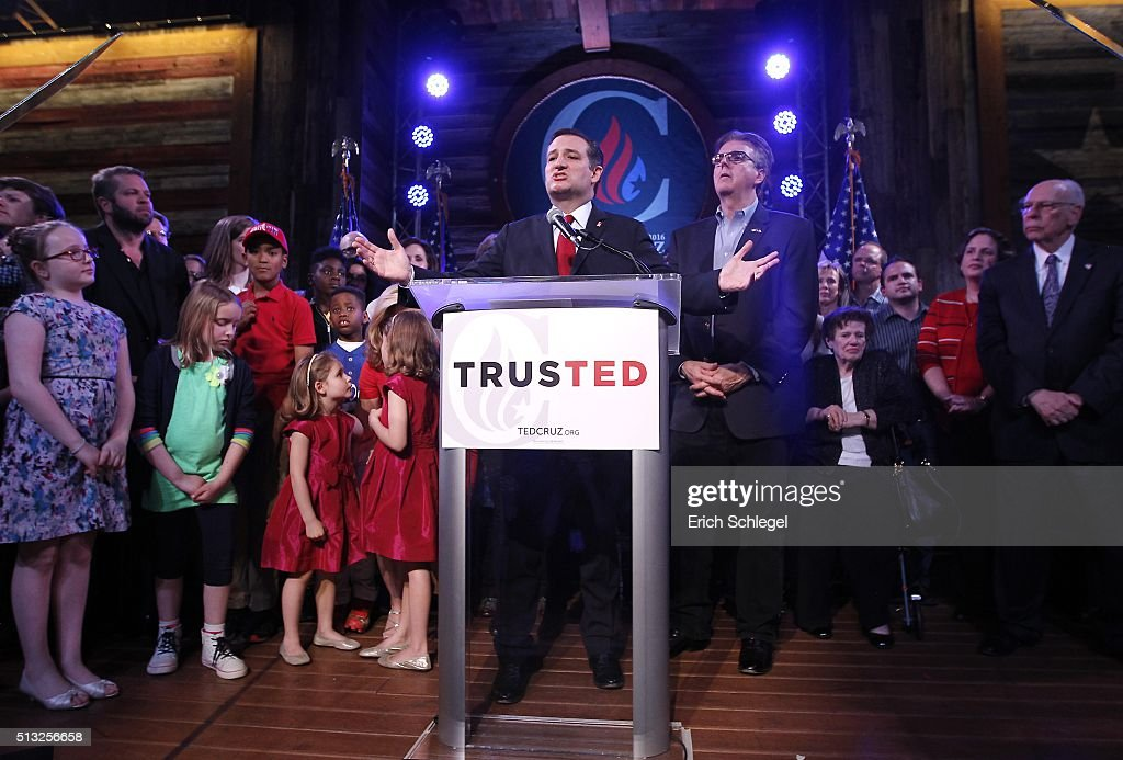 Republican presidential candidate, Sen. Ted Cruz (R-TX) celebrates at a Super Tuesday watch party at the Redneck Country Club March 1, 2016 in Stafford, Texas. Cruz won the Texas, Oklahoma, and Alaska primaries.