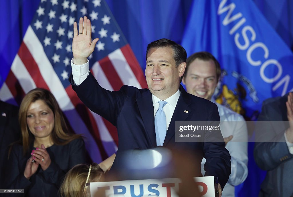 Republican presidential candidate Sen. Ted Cruz (R-TX) celebrates with supporters at the American Serb Hall Banquet Center after the polls closed on April 5, 2016 in Milwaukee, Wisconsin. Wisconsin