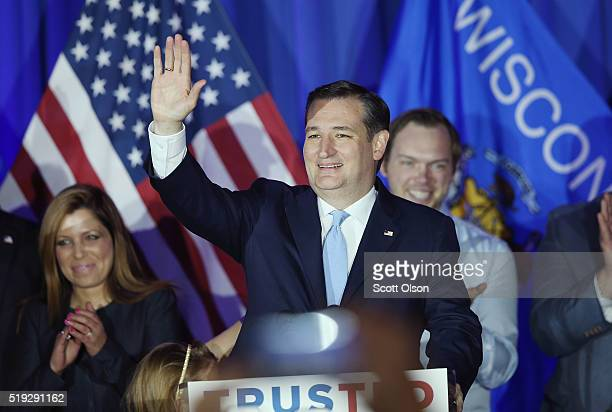 Republican presidential candidate Sen Ted Cruz celebrates with supporters at the American Serb Hall Banquet Center after the polls closed on April 5...