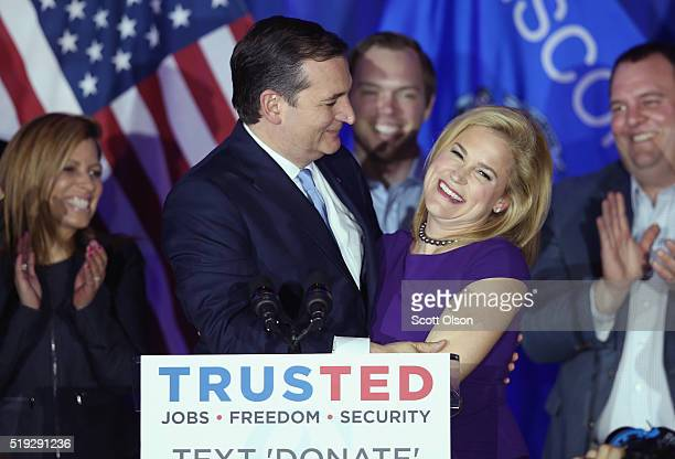 Republican presidential candidate Sen Ted Cruz celebrates with his wife Heidi at the American Serb Hall Banquet Center after the polls closed on...