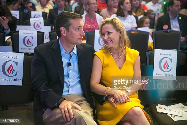 Republican presidential candidate Sen Ted Cruz chats with his wife Heidi Nelson Cruz at the Religious Liberty Rally he was hosting on August 21 2015...