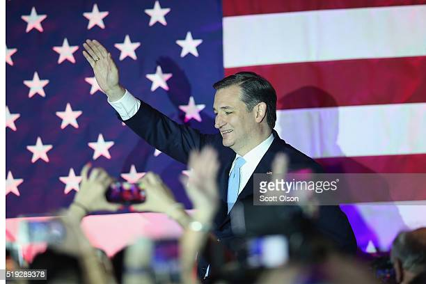 Republican presidential candidate Sen Ted Cruz greets supporters at the American Serb Hall Banquet Center after the polls closed on April 5 2016 in...