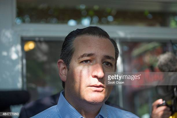 Republican presidential candidate Sen Ted Cruz is interviewed at the Iowa State Fair on August 21 2015 in Des Moines Iowa Presidential candidates...