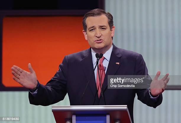 Republican presidential candidate Sen Ted Cruz participates in a debate sponsored by Fox News at the Fox Theatre on March 3 2016 in Detroit Michigan...