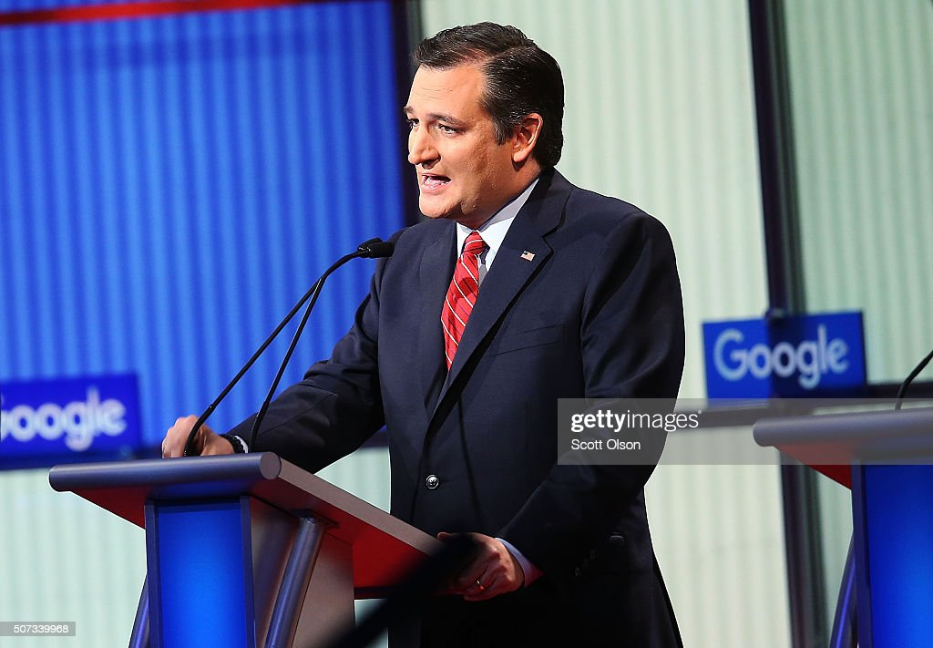 Republican presidential candidate Sen. <a gi-track='captionPersonalityLinkClicked' href=/galleries/search?phrase=Ted+Cruz&family=editorial&specificpeople=7222093 ng-click='$event.stopPropagation()'>Ted Cruz</a> (R-TX) participates in the Fox News - Google GOP Debate January 28, 2016 at the Iowa Events Center in Des Moines, Iowa. Residents of Iowa will vote for the Republican nominee at the caucuses on February 1. Donald Trump, who is leading most polls in the state, decided not to participate in the debate.