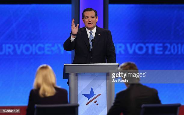 Republican presidential candidate Sen Ted Cruz participates in the Republican presidential debate at St Anselm College February 6 2016 in Manchester...