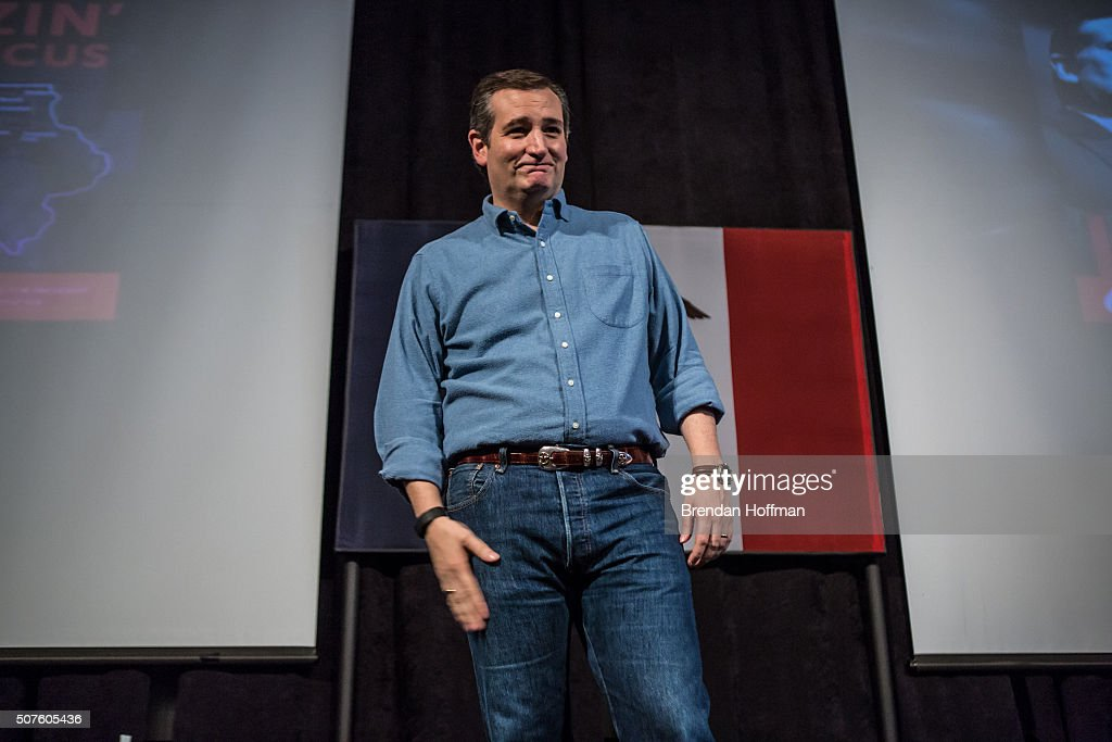 Republican presidential candidate Sen. <a gi-track='captionPersonalityLinkClicked' href=/galleries/search?phrase=Ted+Cruz&family=editorial&specificpeople=7222093 ng-click='$event.stopPropagation()'>Ted Cruz</a> (R-TX) speaks at a campaign event at the Gateway Hotel on January 30, 2016 in Ames, Iowa. The Democratic and Republican Iowa Caucuses, the first step in nominating a presidential candidate from each party, will take place on February 1.