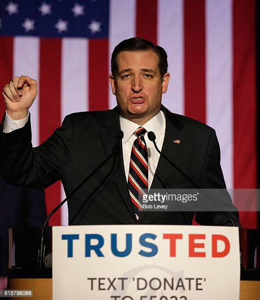 Republican presidential candidate Sen Ted Cruz speaks at a watch party on March 15 2016 in Houston Texas Cruz is in a tight race with Donald Trump in...