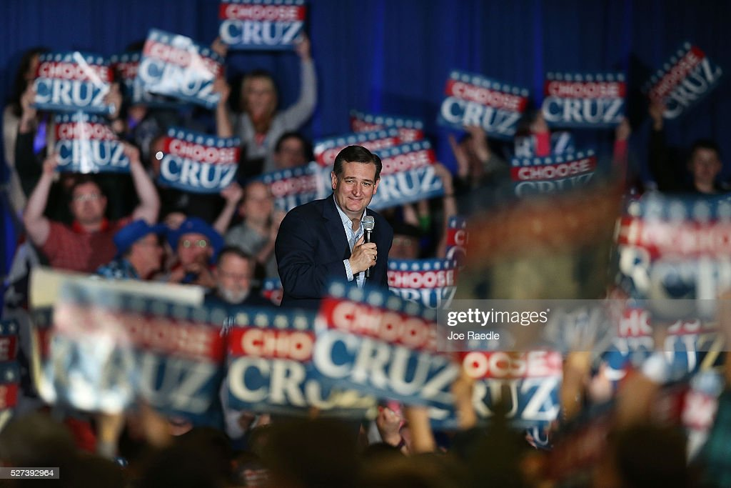 Republican presidential candidate Sen. <a gi-track='captionPersonalityLinkClicked' href=/galleries/search?phrase=Ted+Cruz&family=editorial&specificpeople=7222093 ng-click='$event.stopPropagation()'>Ted Cruz</a> (R-TX) speaks during a campaign rally at the Indiana State Fairgrounds on May 2, 2016 in Indianapolis, Indiana. Cruz continues to campaign leading up to the state of Indiana's primary day on Tuesday.