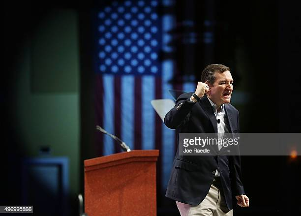 Republican presidential candidate Sen Ted Cruz speaks during the Sunshine Summit conference being held at the Rosen Shingle Creek on November 13 2015...