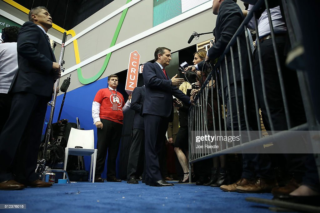 Republican presidential candidate Sen. Ted Cruz (R-TX) speaks to the media in the spin room after the Republican National Committee Presidential Primary Debate at the University of Houston's Moores School of Music Opera House on February 25, 2016 in Houston, Texas. The candidates are meeting for the last Republican debate before the Super Tuesday primaries on March 1.