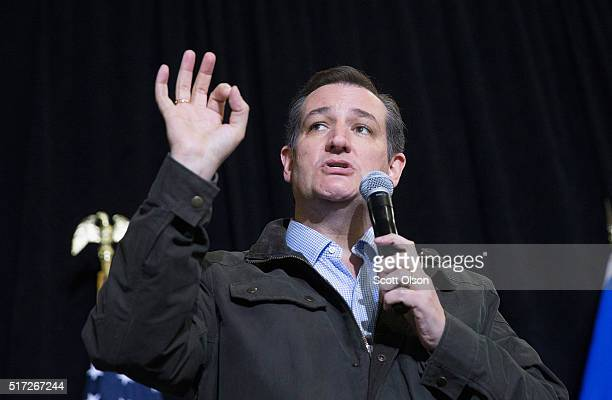 Republican presidential candidate Sen Ted Cruz speaks to workers at Dane Manufacturing during a campaign stop on March 24 2016 in Dane Wisconsin...