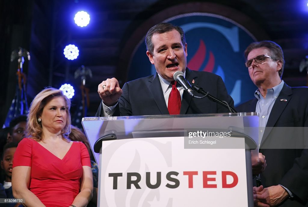 Republican presidential candidate, Sen. Ted Cruz (R-TX), with wife Heidi and Texas Attorney General Dan Patrick by his side, celebrates at a Super Tuesday watch party at the Redneck Country Club March 1, 2016 in Stafford, Texas. Cruz won the Texas, Oklahoma, and Alaska primaries.