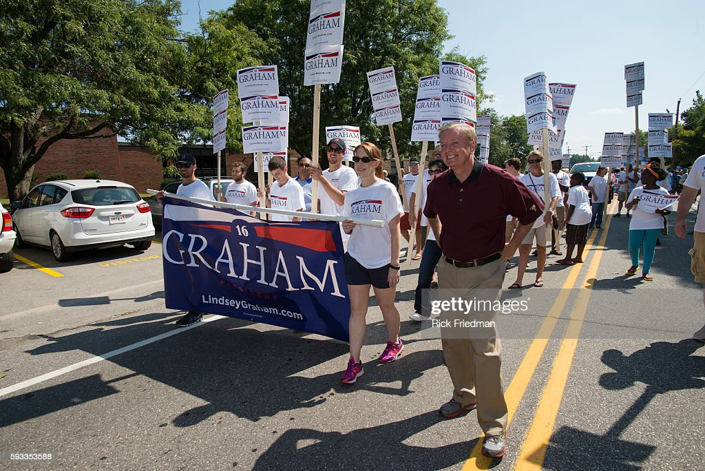 Republican Presidential candidate Senator Lindsay Graham marching in the Milford NH Labor Day Parade on September 7 2015