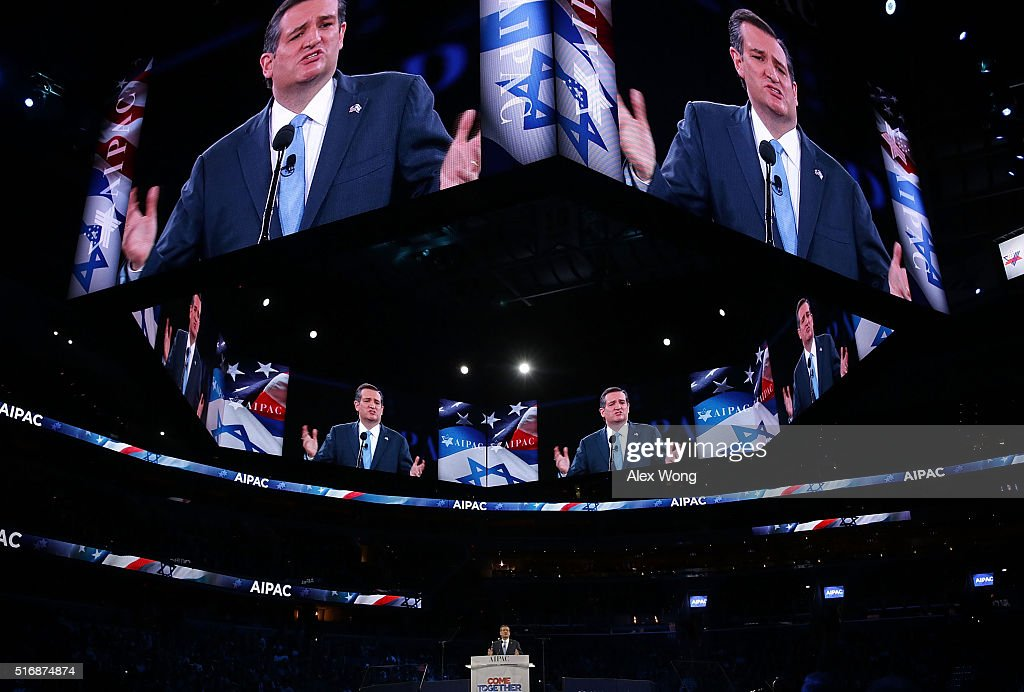 Republican presidential candidate Senator Ted Cruz (R-TX) addresses the annual policy conference of the American Israel Public Affairs Committee (AIPAC) March 21, 2016 in Washington, DC. Presidential candidates from both parties gathered in Washington to explain their views on Israel.