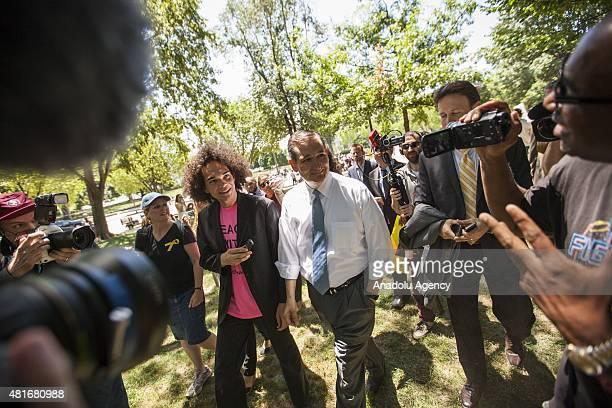 Republican Presidential Candidate Senator Ted Cruz walks through Lafayette Park after speaking out against the nuclear deal with Iran during a...