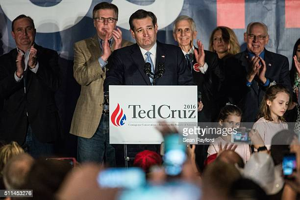 Republican presidential candidate Ted Cruz addresses the crowd at a watch party for the candidate Saturday February 20 2016 in Columbia South...