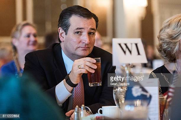 Republican presidential candidate Ted Cruz awaits his introduction at the Poinsett Club Thursday February 18 2016 in Greenville South Carolina The...