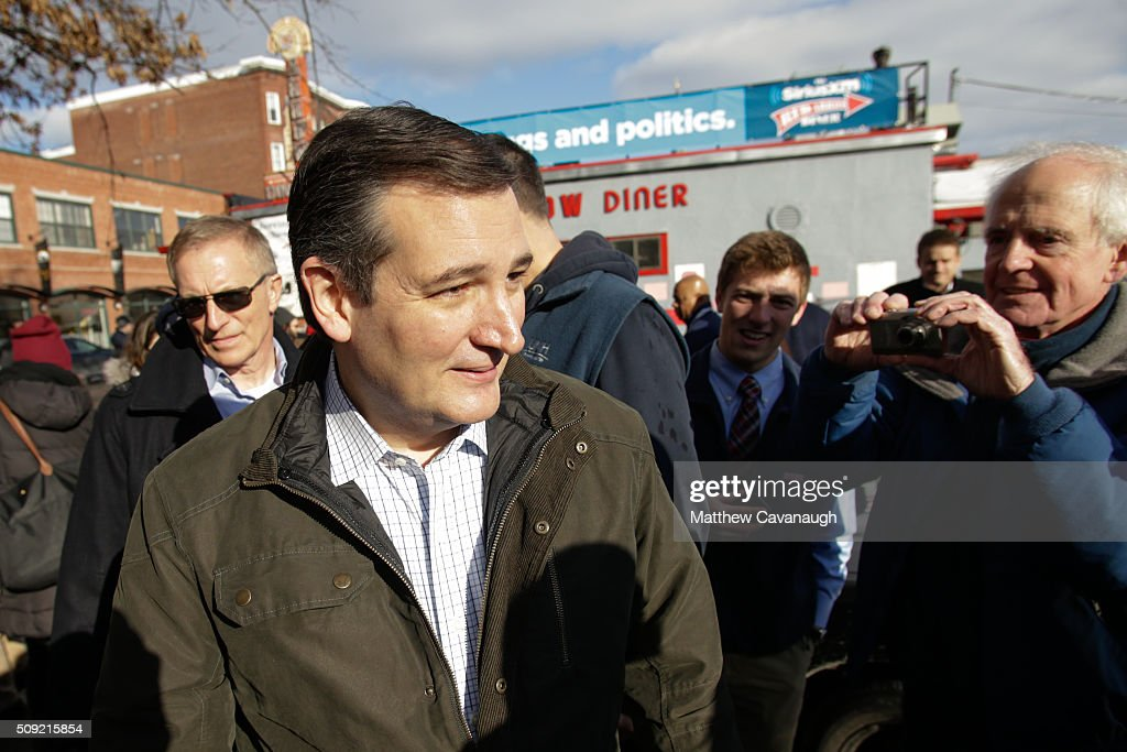 Republican presidential candidate <a gi-track='captionPersonalityLinkClicked' href=/galleries/search?phrase=Ted+Cruz&family=editorial&specificpeople=7222093 ng-click='$event.stopPropagation()'>Ted Cruz</a> leaves a campaign stop on February 9, 2016 at the Red Arrow Diner in Manchester, New Hampshire. Voters throughout the state are heading to the polls as the New Hampshire Primary, also known as the first-in-the-nation primary, continues the process of selecting the next president of the United States.