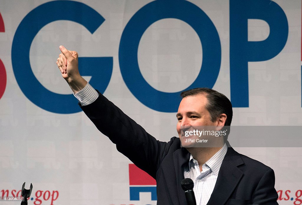 Republican presidential candidate <a gi-track='captionPersonalityLinkClicked' href=/galleries/search?phrase=Ted+Cruz&family=editorial&specificpeople=7222093 ng-click='$event.stopPropagation()'>Ted Cruz</a> makes a speech at a campaign rally on March 5, 2016 in Wichita, Kansas. Cruz said he has a list of government programs that he will eliminate if elected.