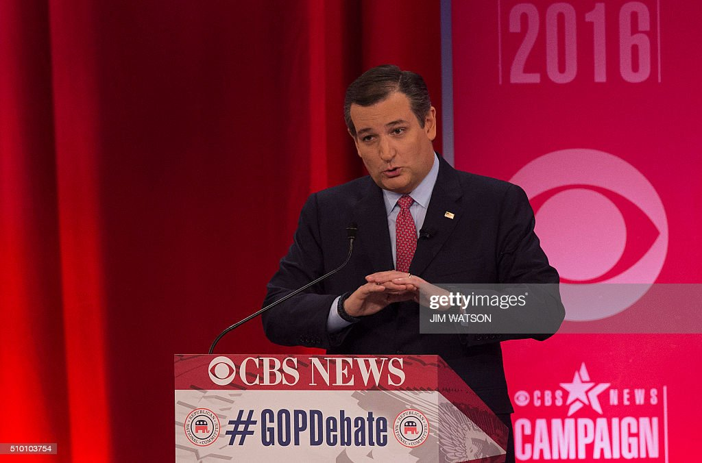 Republican presidential candidate Ted Cruz speaks during the CBS News Republican Presidential Debate in Greenville, South Carolina, February 13, 2016. / AFP / JIM WATSON