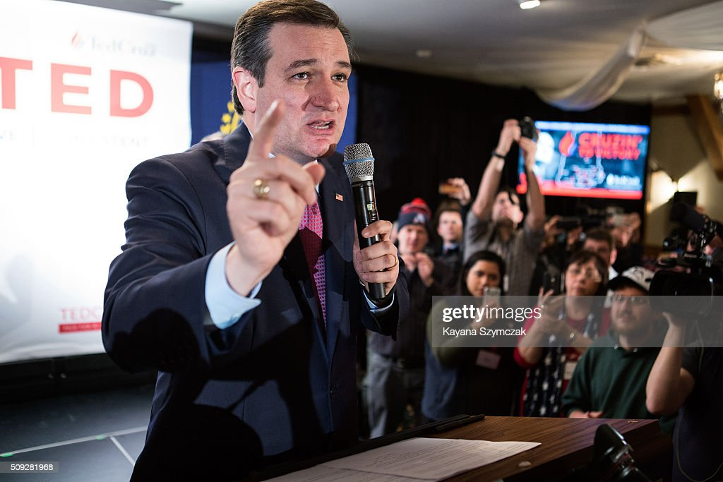 Republican presidential candidate Ted Cruz speaks to his supporters at a primary night gathering, held at Alpine Grove Banquet facility on February 9, 2016, in Hollis, New Hampshire. Cruz finished third in the New Hampshire primary behind Donald Trump and Ohio Gov. John Kasich.