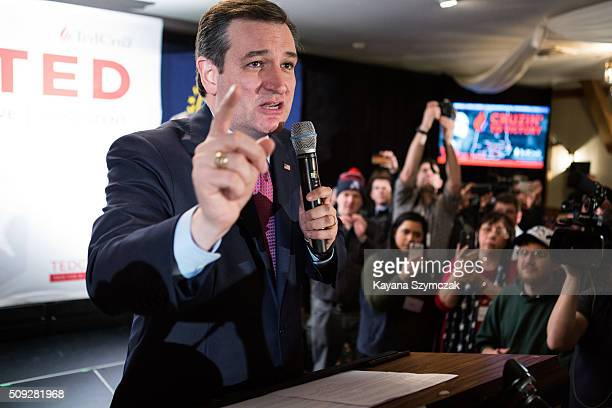 Republican presidential candidate Ted Cruz speaks to his supporters at a primary night gathering held at Alpine Grove Banquet facility on February 9...