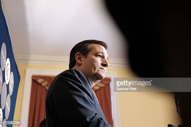Republican presidential candidate Ted Cruz speaks to the media during an appearance in New York on March 23 2016 in New York City Cruz who is now in...