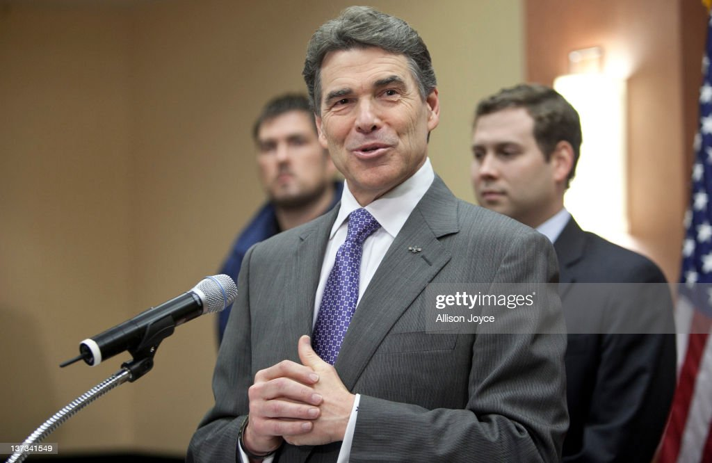 Republican presidential candidate, Texas Gov. Rick Perry speaks to the media at Hyatt Place January 19, 2012 in North Charleston, South Carolina. Perry, who placed fifth in Iowa and New Hampshire, announced his withdrawal from the presidential race and endorsed former Speaker of the House Newt Gingrich.