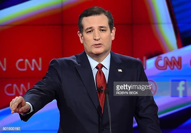 Republican presidential candidate Texas Sen Ted Cruz gestures during the Republican Presidential Debate hosted by CNN at The Venetian Las Vegas on...