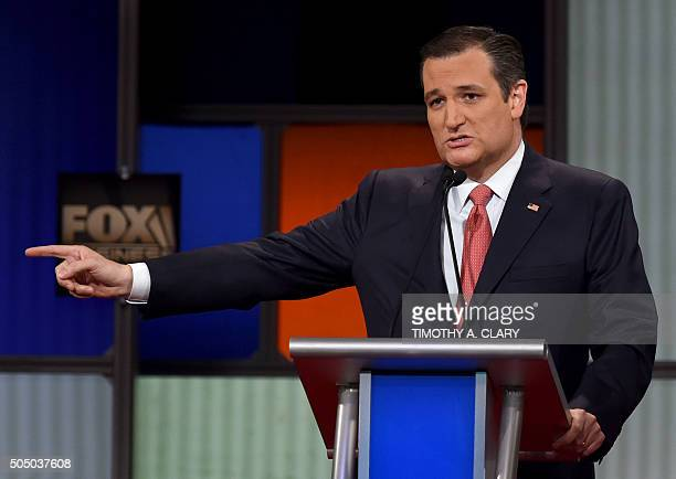 Republican Presidential candidate Texas Senator Ted Cruz gestures during the Republican Presidential debate sponsored by Fox Business and the...