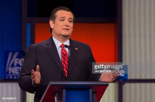 Republican Presidential candidate Texas Senator Ted Cruz speaks during the Republican Presidential debate sponsored by Fox News at the Iowa Events...