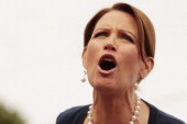 Republican presidential candidate US Rep Michele Bachmann gets the crowd excited during a GOP Picnic August 9 2011 in Humboldt Iowa Bachmann is...