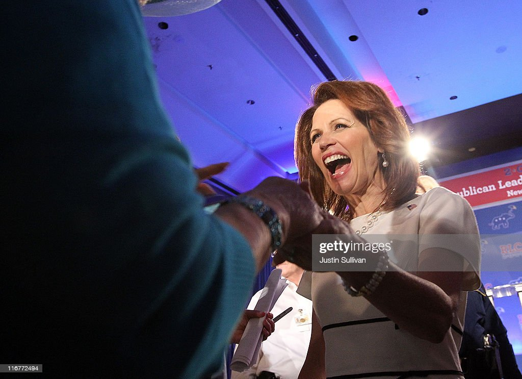 Republican presidential candidate U.S. Rep. <a gi-track='captionPersonalityLinkClicked' href=/galleries/search?phrase=Michele+Bachmann&family=editorial&specificpeople=5578664 ng-click='$event.stopPropagation()'>Michele Bachmann</a> (R-MN) greets supporters during the 2011 Republican Leadership Conference on June 17, 2011 in New Orleans, Louisiana. The 2011 Republican Leadership Conference runs through tomorrow and will feature keynote addresses from most of the major Republican candidates for president as well as numerous Republican leaders from across the country.