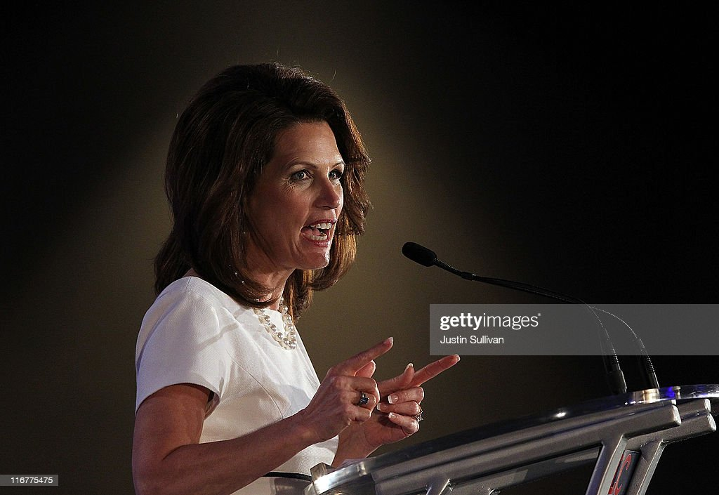 Republican presidential candidate U.S. Rep. <a gi-track='captionPersonalityLinkClicked' href=/galleries/search?phrase=Michele+Bachmann&family=editorial&specificpeople=5578664 ng-click='$event.stopPropagation()'>Michele Bachmann</a> (R-MN) speaks during the 2011 Republican Leadership Conference on June 17, 2011 in New Orleans, Louisiana. The 2011 Republican Leadership Conference runs through tomorrow and will feature keynote addresses from most of the major Republican candidates for president as well as numerous Republican leaders from across the country.
