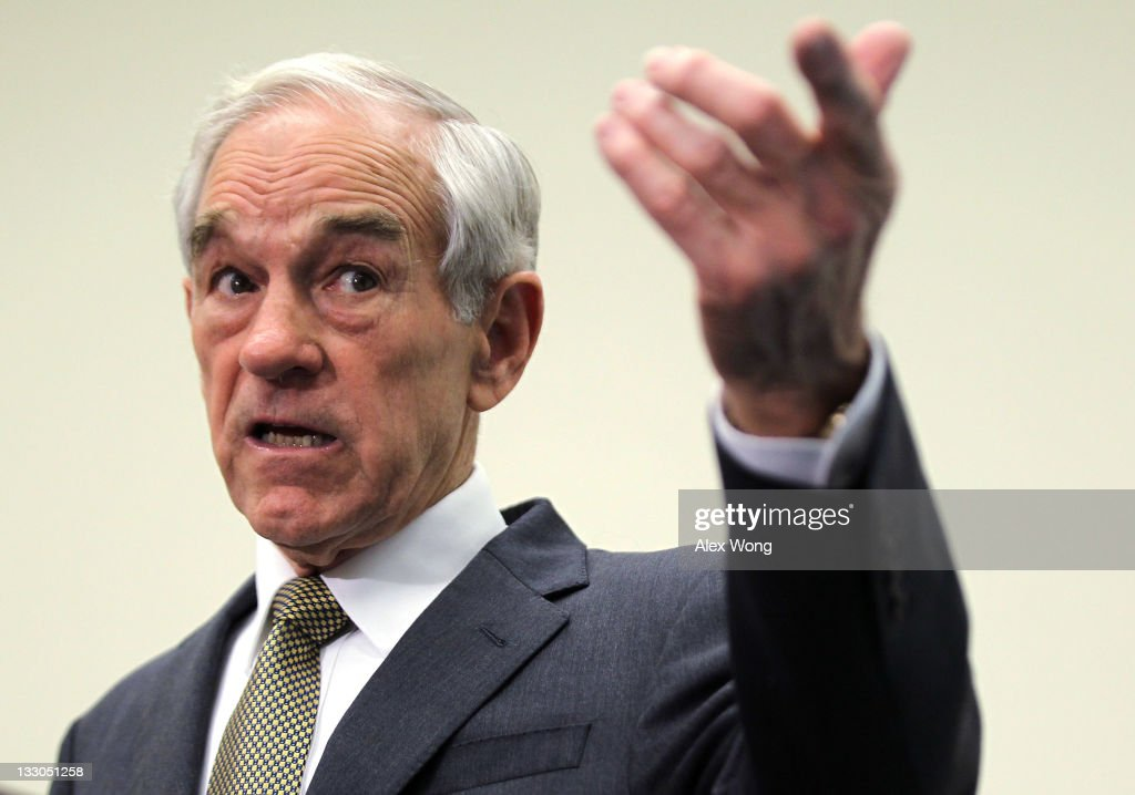 Republican presidential candidate U.S. Rep. <a gi-track='captionPersonalityLinkClicked' href=/galleries/search?phrase=Ron+Paul&family=editorial&specificpeople=2300665 ng-click='$event.stopPropagation()'>Ron Paul</a> (R-TX) addresses the Congressional Health Care Caucus 'Thought Leaders Series' November 16, 2011 on Capitol Hill in Washington, DC. Rep. Paul discussed his perspective on health care.