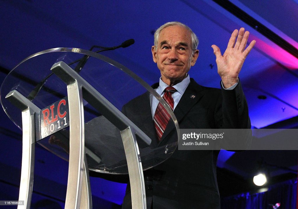 Republican presidential candidate U.S. Rep. <a gi-track='captionPersonalityLinkClicked' href=/galleries/search?phrase=Ron+Paul&family=editorial&specificpeople=2300665 ng-click='$event.stopPropagation()'>Ron Paul</a> (R-TX) speaks during the 2011 Republican Leadership Conference on June 17, 2011 in New Orleans, Louisiana. The 2011 Republican Leadership Conference runs through tomorrow and will feature keynote addresses from most of the major Republican candidates for president as well as numerous Republican leaders from across the country.
