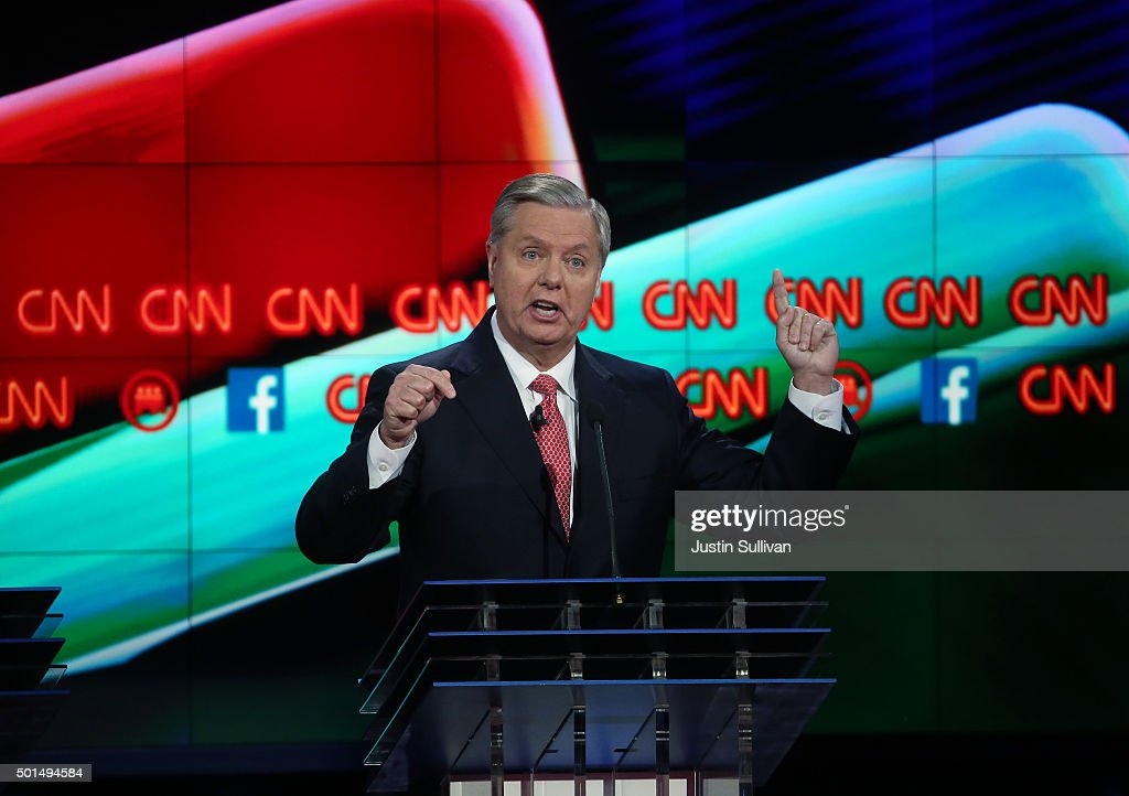Republican presidential candidate U.S. Sen. <a gi-track='captionPersonalityLinkClicked' href=/galleries/search?phrase=Lindsey+Graham&family=editorial&specificpeople=240214 ng-click='$event.stopPropagation()'>Lindsey Graham</a> (R-SC) speaks during the CNN Republican presidential debate on December 15, 2015 in Las Vegas, Nevada. This is the last GOP debate of the year, with U.S. Sen. Ted Cruz (R-TX) gaining in the polls in Iowa and other early voting states and Donald Trump rising in national polls.