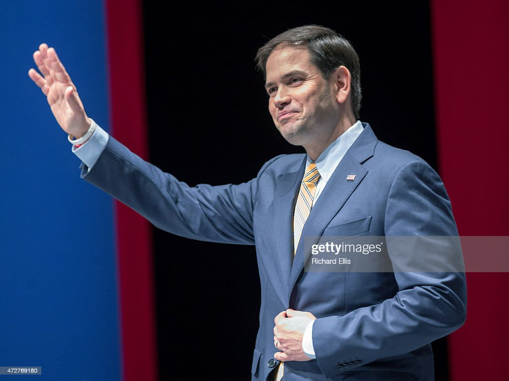 Republican Presidential candidate US Sen Marco Rubio greets supporters at the Freedom Summit on May 9 2015 in Greenville South Carolina Rubio joined...